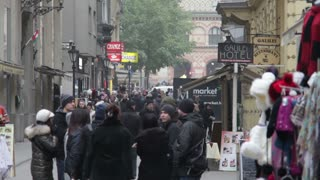 Crowded Street Outside Romanian Hotel