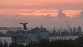 Cruise Ship Leaving Port at Sunset 1