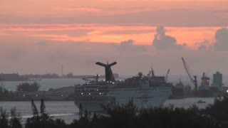 Cruise Ship Leaving Port at Sunset 2