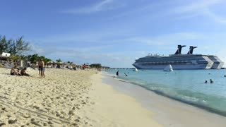 Cruise Ship Off Beach Coast
