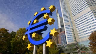 CU ZO MS Euro sign at European Central Bank, Frankfurt am Main, Germany