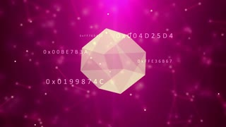 Cyberspace with hexadecimal code, low poly geometric technology. Ultra High Definition 4K animation loop.