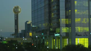 Dallas Reunion Tower in Distance at Dusk