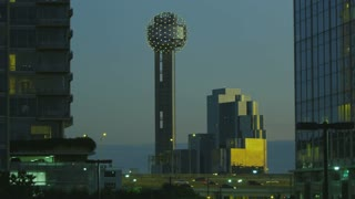 Dallas Reunion Tower in the Evening Long Shot