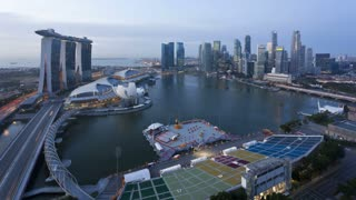 Dawn view of the Helix Bridge and Marina Bay Sands Singapore, Marina Bay, Singapore, Asia, Time lapse
