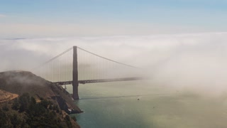 Day Timelapse of the Golden Gate Bridge in the summer fog