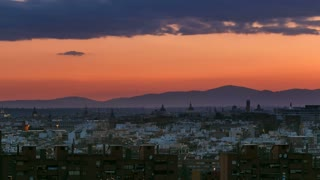 Day to night transition timelapse View of Madrid, Spain. Photo taken from the hills of Tio Pio Park, Vallecas-Neighborhood. Mountains on the background 4K