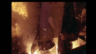 Debris and Flames During Space Shuttle Lift Off