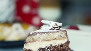 Decorating tasty cake with cheery, super slow motion, shot at 240fps