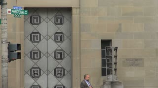 Department of Justice Large Double Doors Closeup