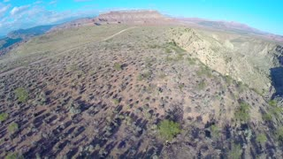 Desert landscape aerial flyover