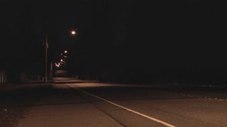 Deserted Neighborhood Street at Night Time