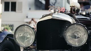 Detail of headlights in a vintage car