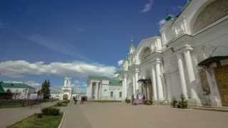 Dimitrievsky Cathedral and Zachatievsky Cathedral of the Spaso-Yakovlevsky Monastery timelapse hyperlapse in Rostov, Russia. The ancient town of Rostov the Great is a tourist center of the Golden Ring