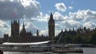 Docked Boat On River Thames By Big Ben 2