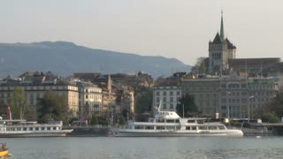 Docked Yacht in Lake Geneva