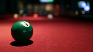 Static Shot of Billiard Ball in Sports Bar
