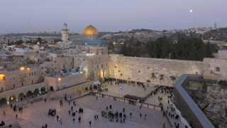 Dome of the Rock Temple Mount illuminated at dusk, Jerusalem, Israel, Middle East, Time lapse