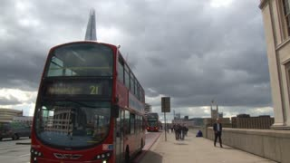 Double Decker Buses On London Bridge