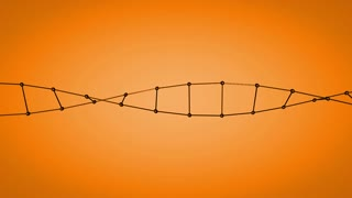 Double Helix on Orange Background