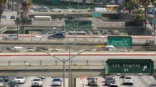 Downtown LA Overpass Continuous Traffic
