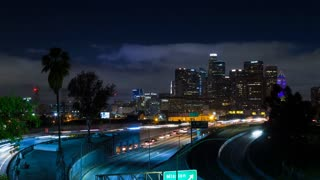 Downtown Los Angeles and 101 Freeway at Night Timelapse