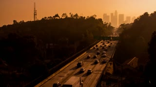 Downtown Los Angeles And 110 Freeway Timelapse Sunset