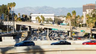 Downtown Los Angeles Freeway Day Timelapse