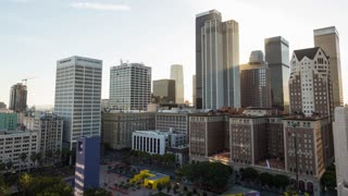 Downtown Los Angeles Skyline and Pershing Square Day To Night Sunset Timelapse