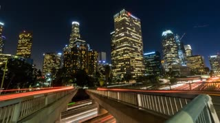 Downtown Los Angeles Timelapse Freeway Building (With slow zoom in)