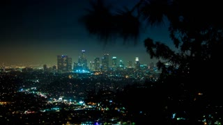 Downtown Los Angeles Timelapse With Tree Branch Shadow