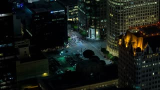 Downtown Los Angeles Traffic Intersection Aerial Rooftop Night Timelapse