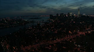 Downtown Manhattan Night Aerial