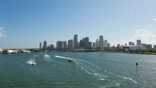 Downtown Miami, Florida with Boats Waterfront Day Timelapse
