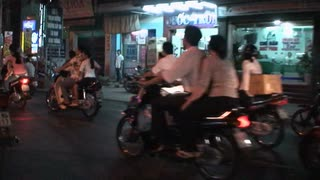 Dozens Of Motor Scooters Riding In Vietnam