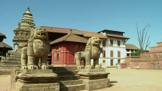 Dragon Statues and Old Temple in Nepal