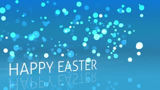 Drifting Blue Particles Happy Easter Text