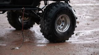 Dripping water on jeep wheels