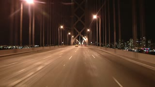 Driving On San Francisco Bay Bridge At Night