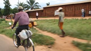 Driving Through Rural Congo Pedestrians And Bicyclists