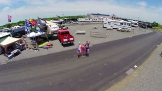 drone over family at rv trailer event