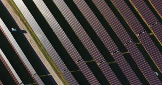 Drone shot of solar batteries in the field
