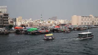 Dubai Creek, Khor Dubai, Dhow Wharfage and commercial centre, Deira, Dubai, United Arab Emirates, Middle East