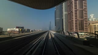 Dubai Metro. A view of the city from the subway car, Dubai, UAE. Timelapse