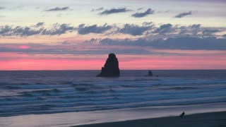 Dusk at Cannon Beach in Oregon