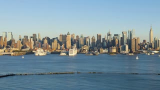 Dusk to night view of Midtown Manhattan across the Hudson River, New York, Manhattan,  United States of America, Time-lapse