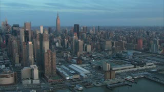 Early Morning Sunrise Midtown Manhattan Aerial