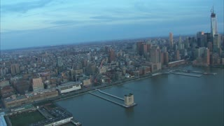 East River Looking To Manhattan Aerial
