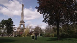 Eiffel Tower with Tree and Young Couple