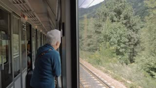 Elderly woman looking the landscape in a moving train